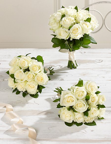 Creamy-white Luxury Rose Wedding Flowers - Collection 1