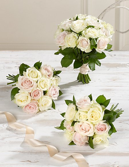White & Pink Luxury Rose Wedding Flowers - Collection 1