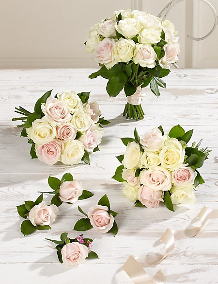 White & Pink Luxury Rose Wedding Flowers - Collection 2 | M&S