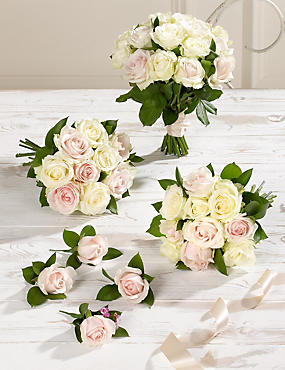 White & Pink Luxury Rose Wedding Flowers - Collection 2