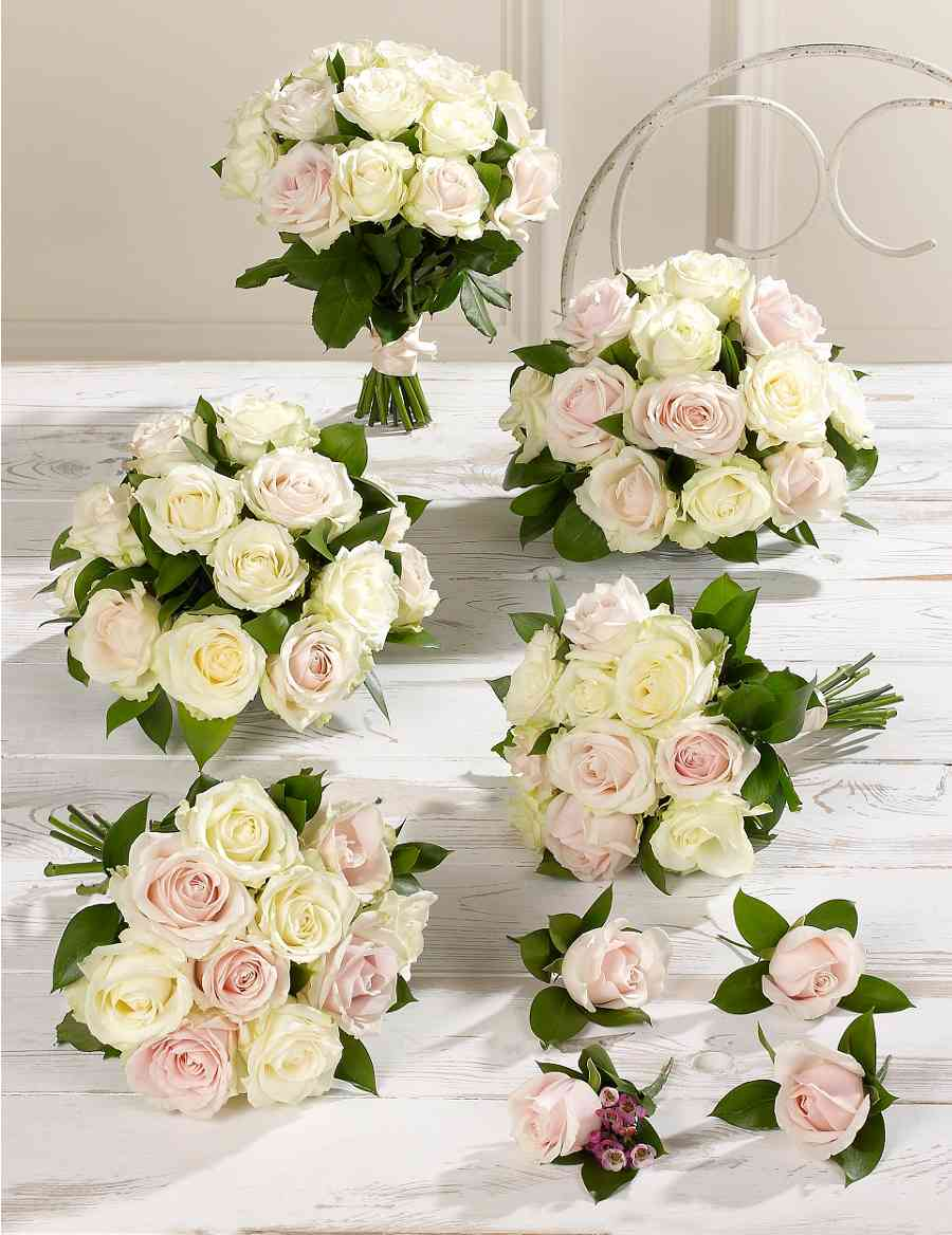 Pink White Luxury Rose Wedding Flowers Collection 3 Ms