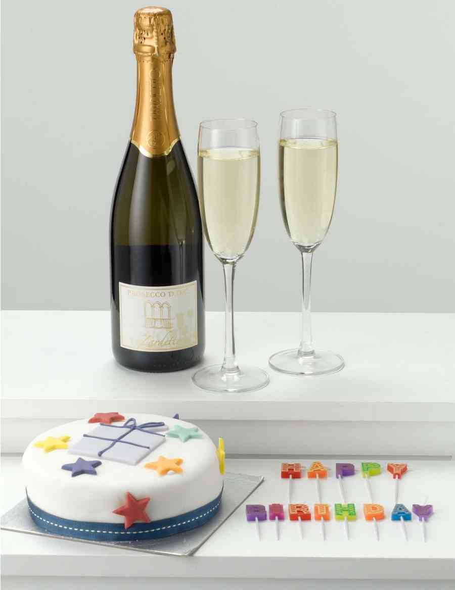 Birthday Cake Candles Prosecco