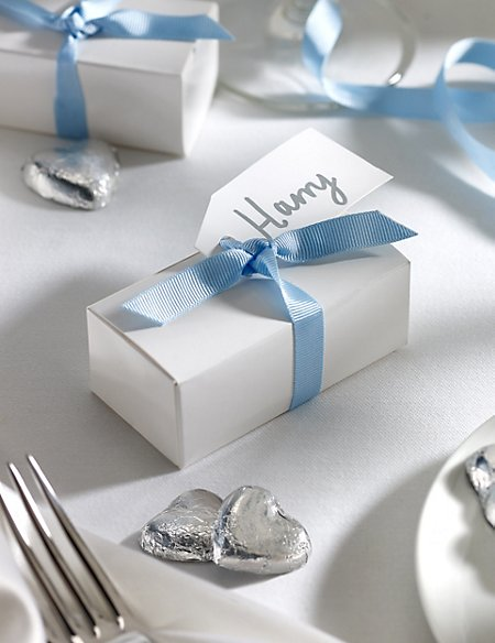 Silver Milk Chocolate Heart Wedding Favours in a White Box with Blue Ribbon - Pack of 25
