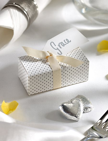Silver Milk Chocolate Heart Wedding Favours in a Dotty Box with Cream Ribbon - Pack of 25