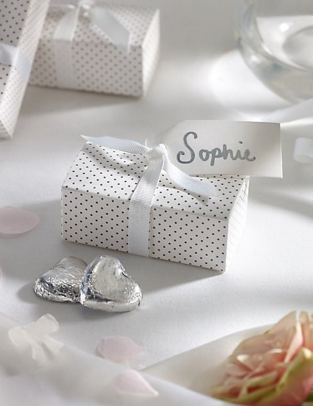 Silver Milk Chocolate Heart Wedding Favours in a Dotty Box with White Ribbons - Pack of 25