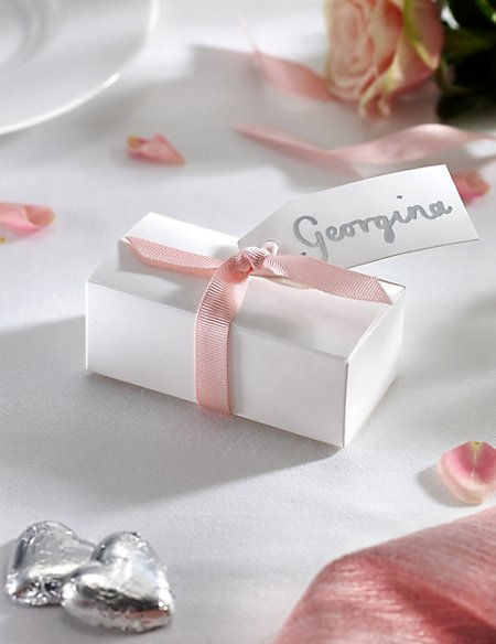 Silver Milk Chocolate Heart Wedding Favours in a White Box with Pink Ribbon- Pack of 25
