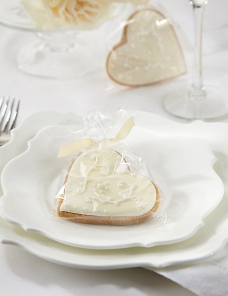 Hand Iced Heart Biscuits with Ivory Ribbons - Pack of 25