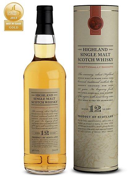 Highland 12 Year Old Single Malt Whisky - Single Bottle