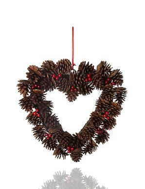 Christmas Heart Wreath.Heart Shaped Pine Cone Christmas Wreath