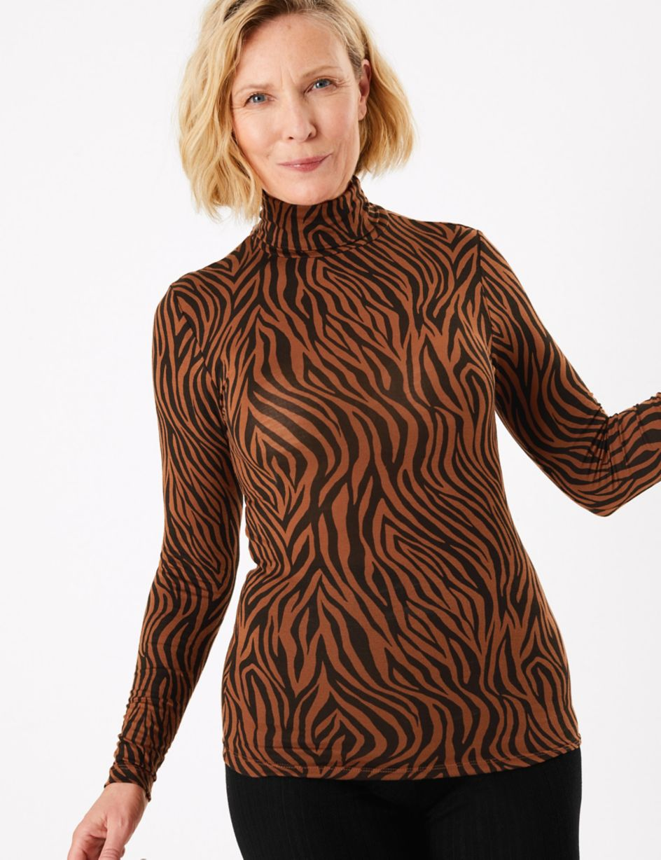 Ladies Women Leopard Print Long Sleeve Turtle Polo Neck T-shirt Top
