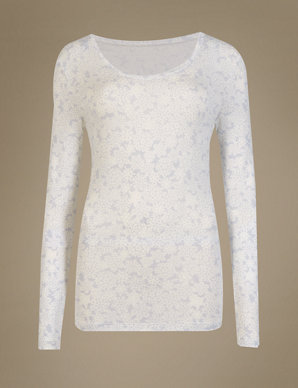 a3cd251f2e4 Heatgen™ Thermal Sparkle Snowflake Top | M&S Collection | M&S