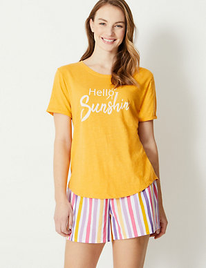 6617c599b8b504 Hello Sunshine Slogan Pyjama Top | M&S Collection | M&S