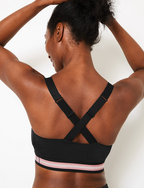 M/&S Collection T336327 High Impact Black Non-Wired Sports Bra A-E RRP £25