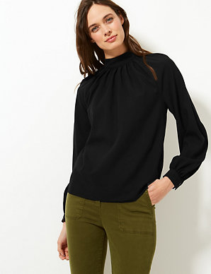 6e6bfbfa4 High Neck Long Sleeve Blouse | M&S Collection | M&S