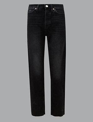 cffa34a03f151 High Rise Straight Leg Ankle Grazer Jeans   Autograph   M&S