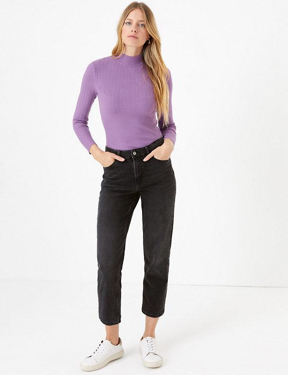Womens Marks /& Spencer High Waist Denim Jeans Wide Leg Ankle Grazer Size 6 to 22