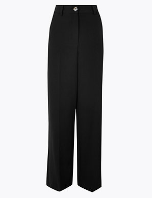RRP £39.50 LADIES M/&S PER UNA 10 OR 18 BLACK LINEN WIDE LEG TROUSERS FREE POST