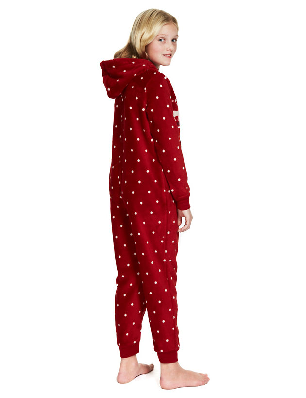 Marks /& Spencer Womens Fair Isle Zip Front New M/&S Fleece All In One Sleepsuit