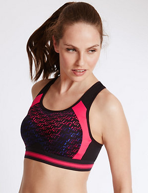 M/&S HIGH IMPACT INFIN 8 SPORTS NON WIRED BRA RRP £28.00