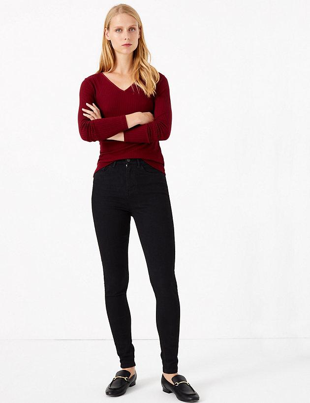 M/&S INDIGO Mid Rise SKINNY Leg JEANS ~ Size 14 Medium ~ ECRU