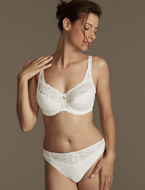 3518f652f1d4 Jacquard & Lace Set with Underwired Full Cup DD-H | M&S