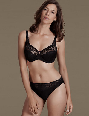 bf3654aa0e1 Jacquard Lace Set with Underwired Full Cup | M&S