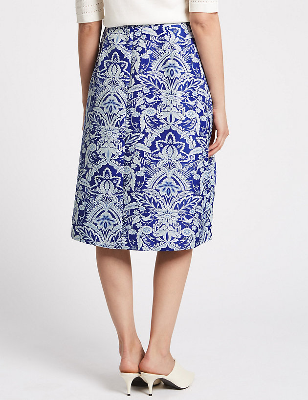M/&S PER UNA Women/'s  Jacquard Print Full Midi Skirt NEW!!!