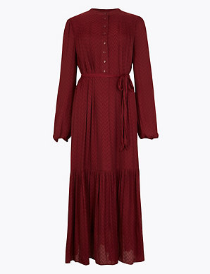 Jacquard Print Relaxed Midi Dress | M&S Collection | M&S