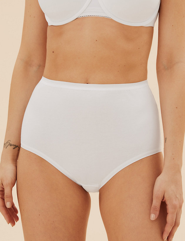 2 X MARKS /& SPENCERS EMBROIDERED HIGH LEG BRIEFS  SIZE 12  LESS THAN HALF PRICE