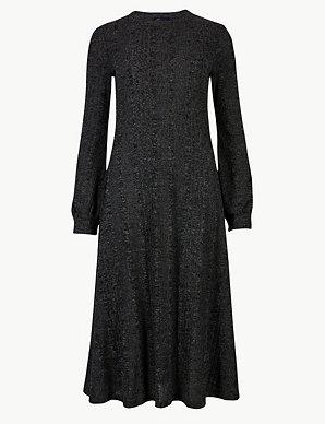 8e9d3cea6a5 Jersey Cuff Sleeve Swing Midi Dress
