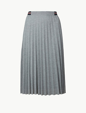 0f6fd2e29181 Jersey Pleated Midi Skirt | M&S Collection | M&S
