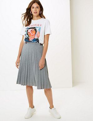 13b07206a Jersey Pleated Midi Skirt | M&S Collection | M&S
