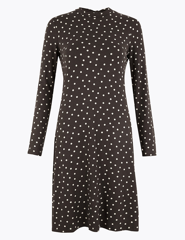 Jersey Polka Dot Swing Dress