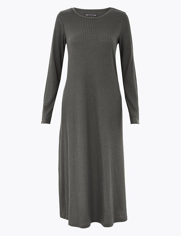 Jersey Round Neck Midi Swing Dress