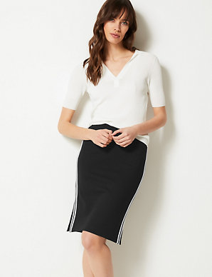 5fefa6ccad Jersey Side Stripe Slit Skirt | M&S Collection | M&S