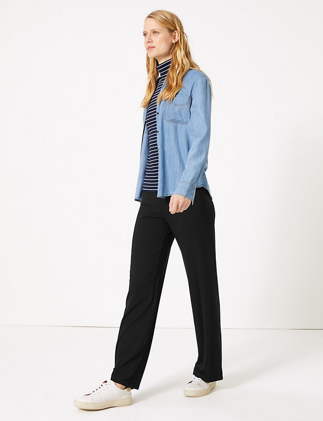 MA ONLINE Womens Fancy Plain 3//4 Length Wide Leg Culottes Ladies Printed Casual Wear Elasticated Waist Trousers