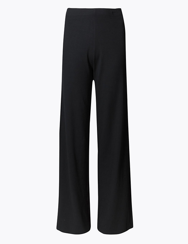 Marks/&Spencer Navy Blue Check High Rise Wide Leg Ankle Grazer Trousers S 16-18