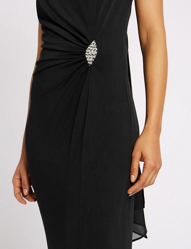 M/&S Collection Jewelled Drape Waist Rear Tie Neck Black Maxi Dress  UK 16 18 20