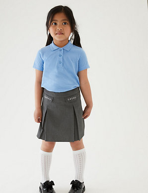 New M/&S Grey Pleated Pull On School Skirt Size 6-7 Years