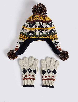 f77191bf6db3a4 Kids' Fairisle Trapper Hat & Gloves Set | M&S