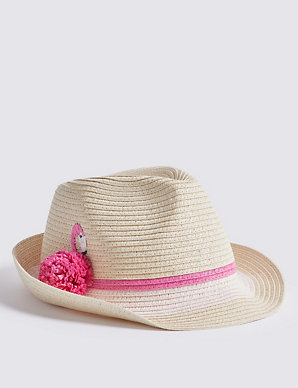 7db93aa68cbde2 Kids' Flamingo Straw Trilby Hat (3-14 Years) | M&S