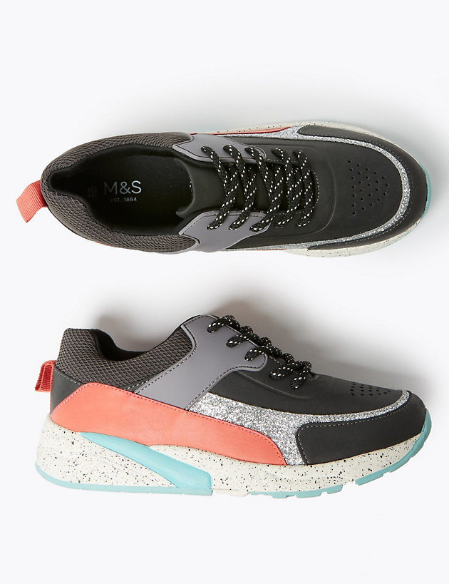 Kids' Freshfeet™ Colour Block Lace Trainers (13 Small - 6 Large)