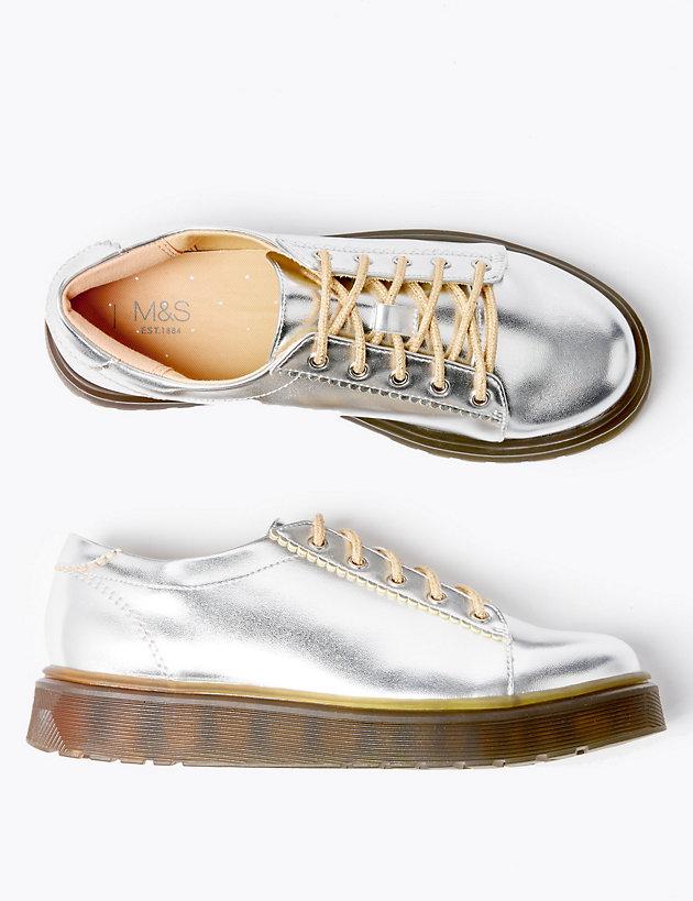 Kids' Freshfeet™ Flatform Lace Heeled Shoes (13 Small - 6 Large)
