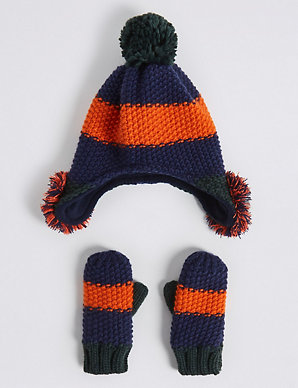 8f012ab0790d7 Kids  Novelty Pom-pom Trapper Hat   Mittens