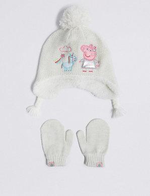 f57854a38cba8 Kids  Peppa Pig™ Trapper Hat   Mittens Set