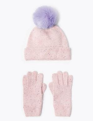 9750c19d1 Kids' Pom Pom Hat & Glove Set (3-14 Years) | M&S