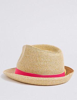 8eaf6408 Kids' Pom-pom Trilby Hat (3-14 Years) | M&S