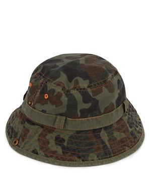 Kids' Pure Cotton Camouflage Print Bucket Hat | M&S
