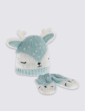 c52a688cfe924 Kids  Reindeer Hat   Mittens Set