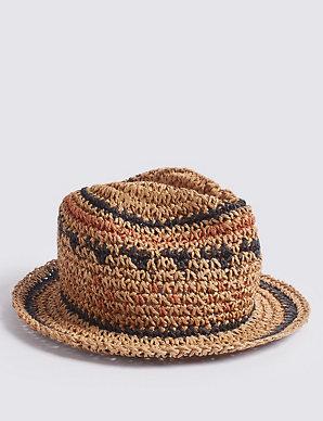 a84fdc3f1 Kids' Straw Trilby Crochet Hat (3-14 Years)   M&S